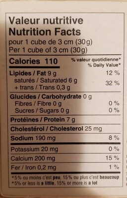 Fromage OKA - Informations nutritionnelles - en