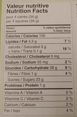 Noix de coco enrobée de chocolat noir - Nutrition facts - fr