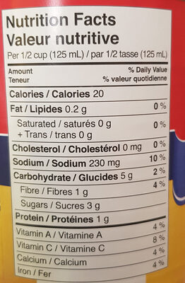 Unico Tomatoes - Nutrition facts - en