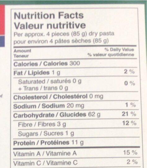 Lasagne - Informations nutritionnelles - en