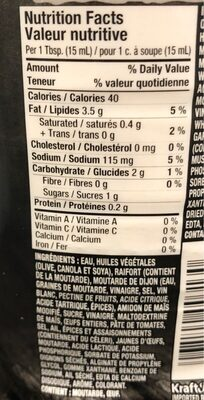 Sauce burger - Nutrition facts - fr
