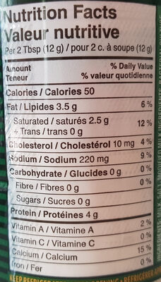 Kraft Parmesan Cheese - Informations nutritionnelles - en