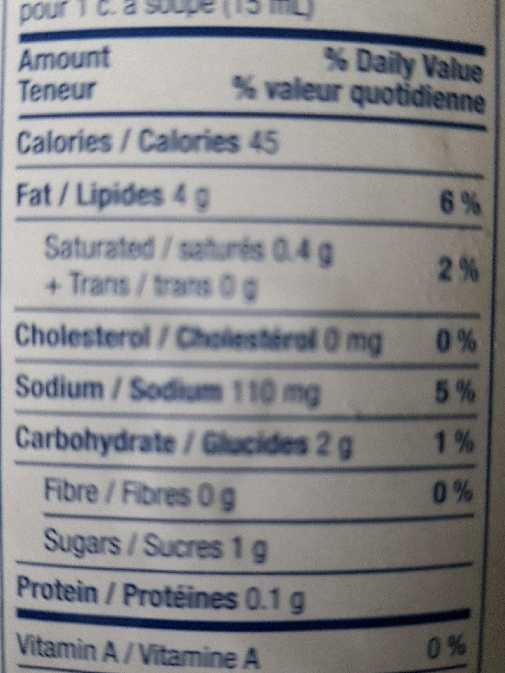 Kraft Balsamic Salad Dressing - Nutrition facts