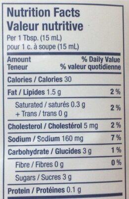 Coleslaw salade de chou - Informations nutritionnelles - fr