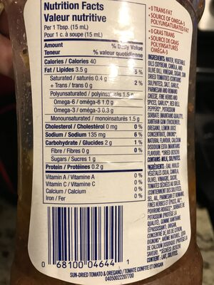 Kraft - Informations nutritionnelles