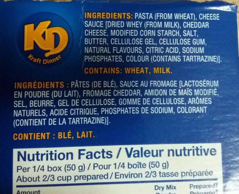 Kraft Dinner Extra Crémeux - Macaroni et Fromage - Ingredients - fr