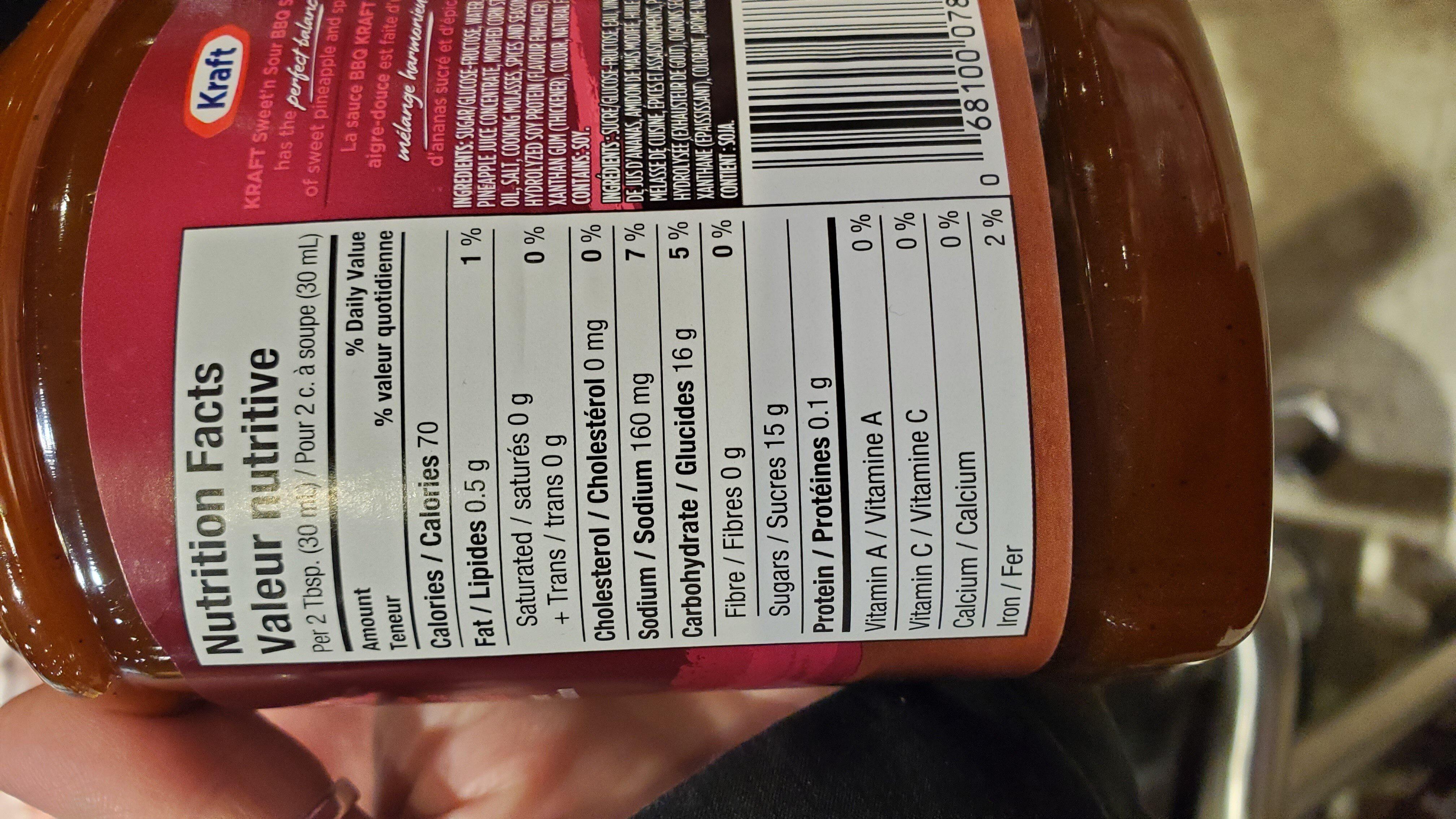 Kraft BBQ Sweet and Sour Sauce - Ingrediënten - en