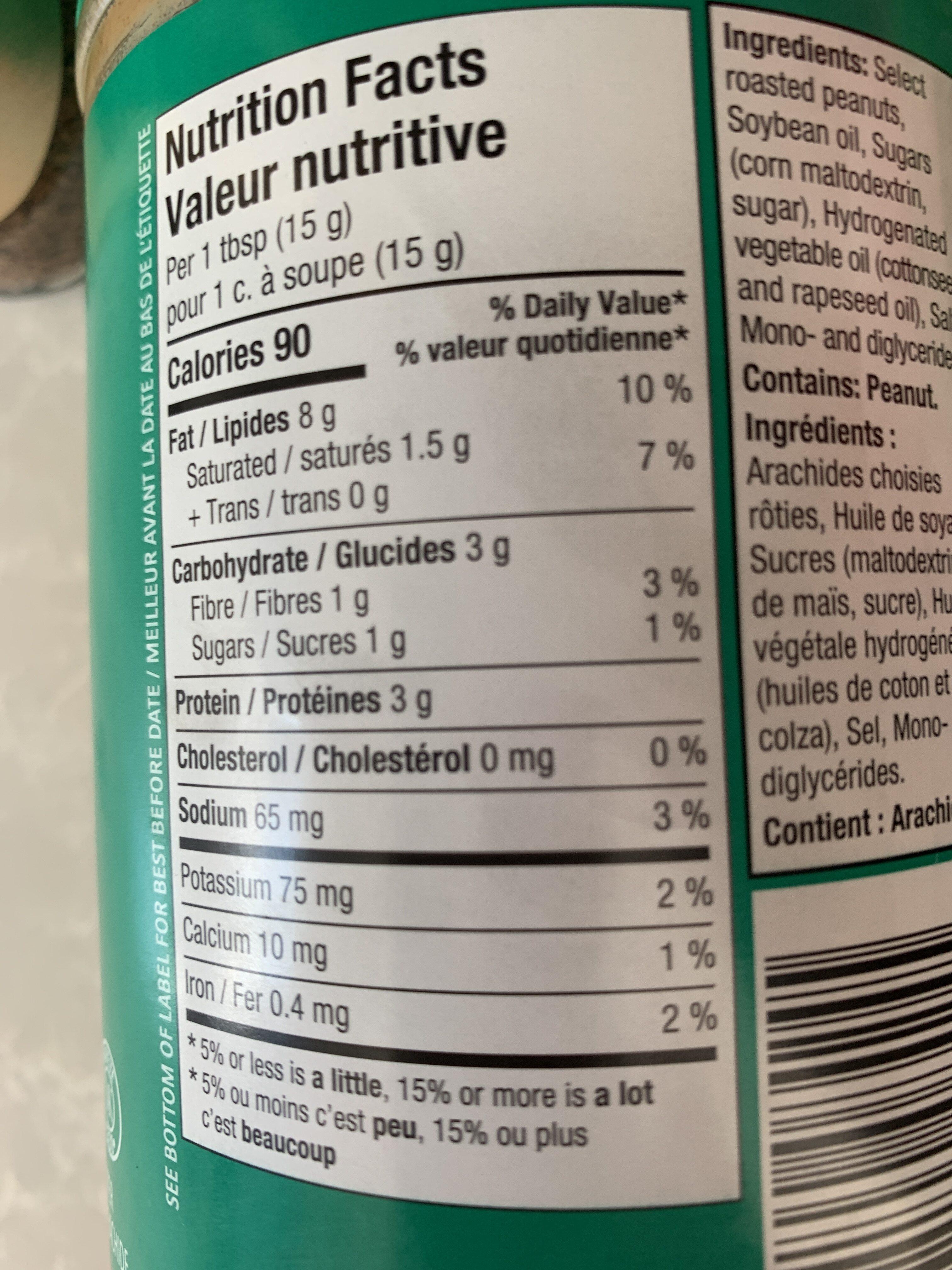 Beurre d'Arachide Crémeux - Valori nutrizionali - fr