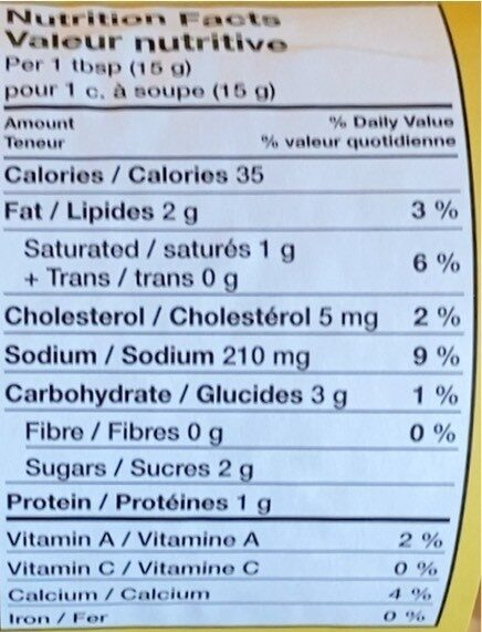 Cheez Whiz - Informations nutritionnelles - fr