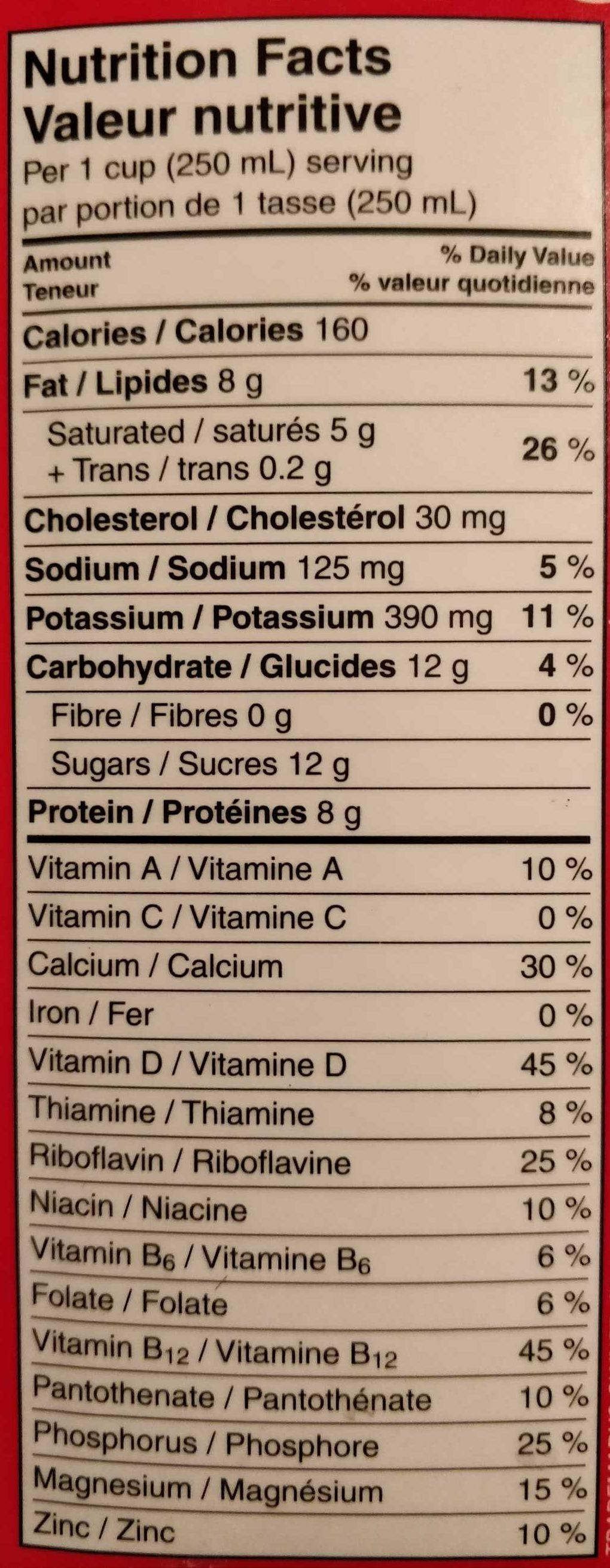 PūrFiltre lait homogénéisé 3,25 % M.G. - Nutrition facts