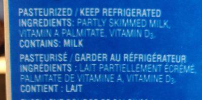 Lactantia Purfiltre - Ingrédients