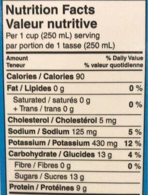 Lait Purfiltre (écrémé) - Informations nutritionnelles - fr