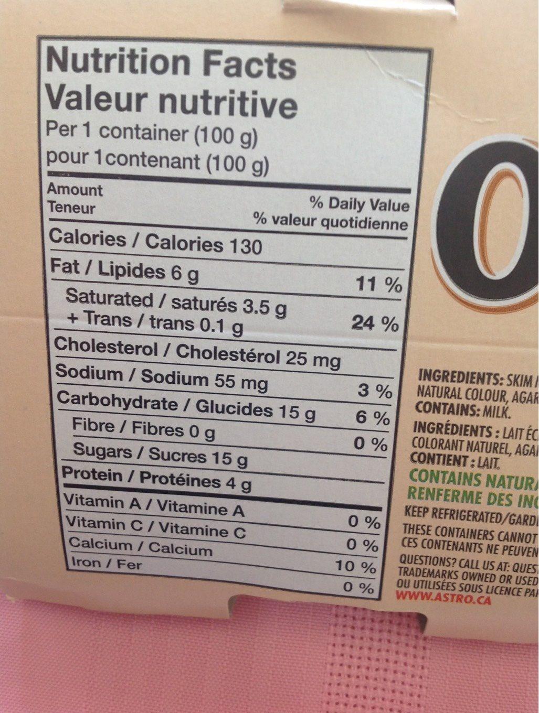 Yogourt (caramel, Cappuccino & Vanille) - Nutrition facts