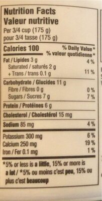 Yogourt nature - Nutrition facts - fr
