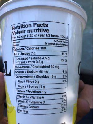 Original Balkan Yogourt Lemon - Nutrition facts