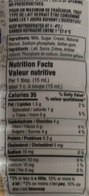 Cofee Creamer - Nutrition facts - fr