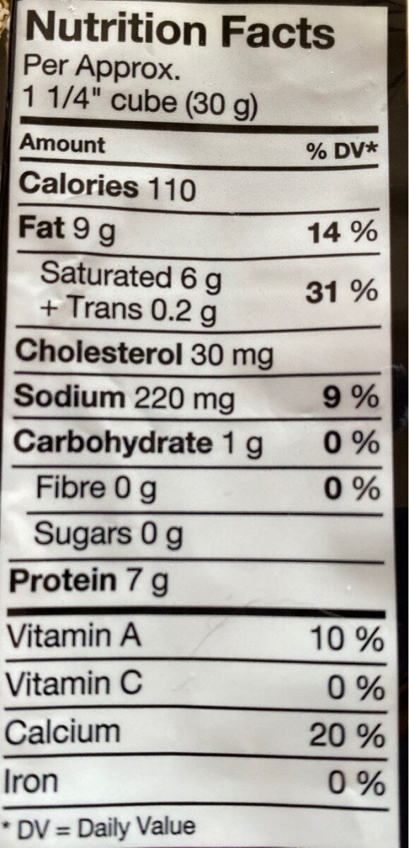 Brick cheese - Nutrition facts - fr