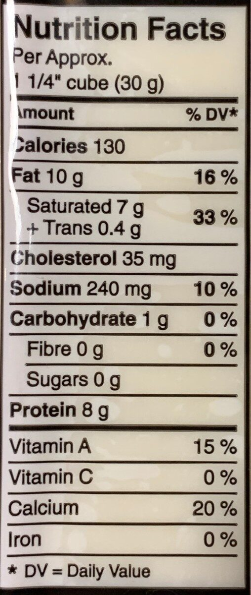 Cheddar Cheese Old - Fort - Nutrition facts - fr