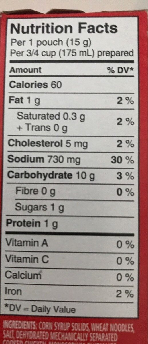 Cup a soup - Nutrition facts - fr