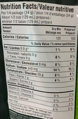 SIDEKICKS pâtes beurre et fines herbes - Nutrition facts - en