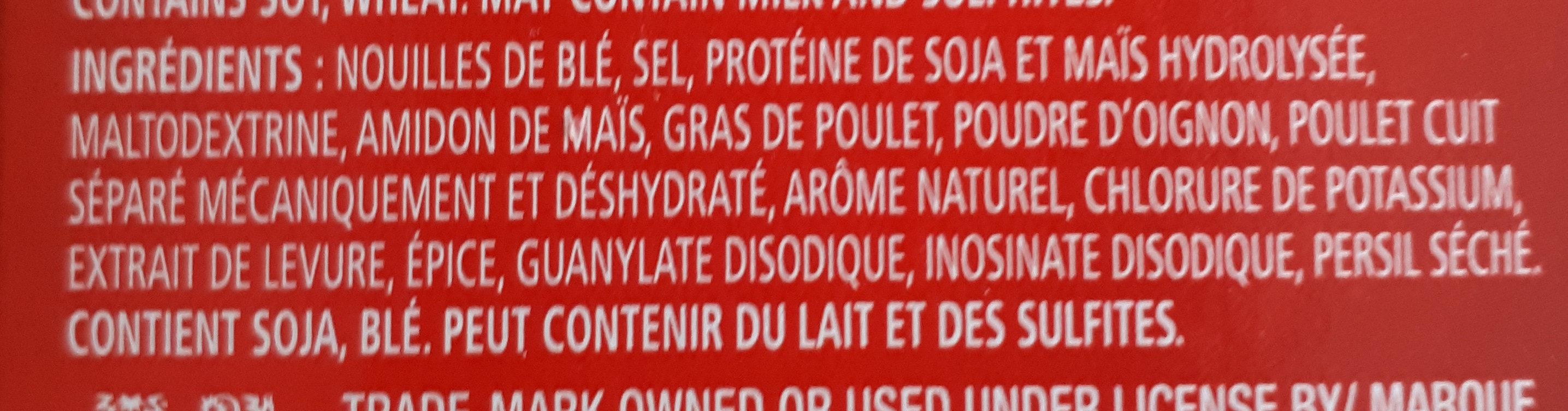 Poulet & Nouilles Légère - Ingredients - fr