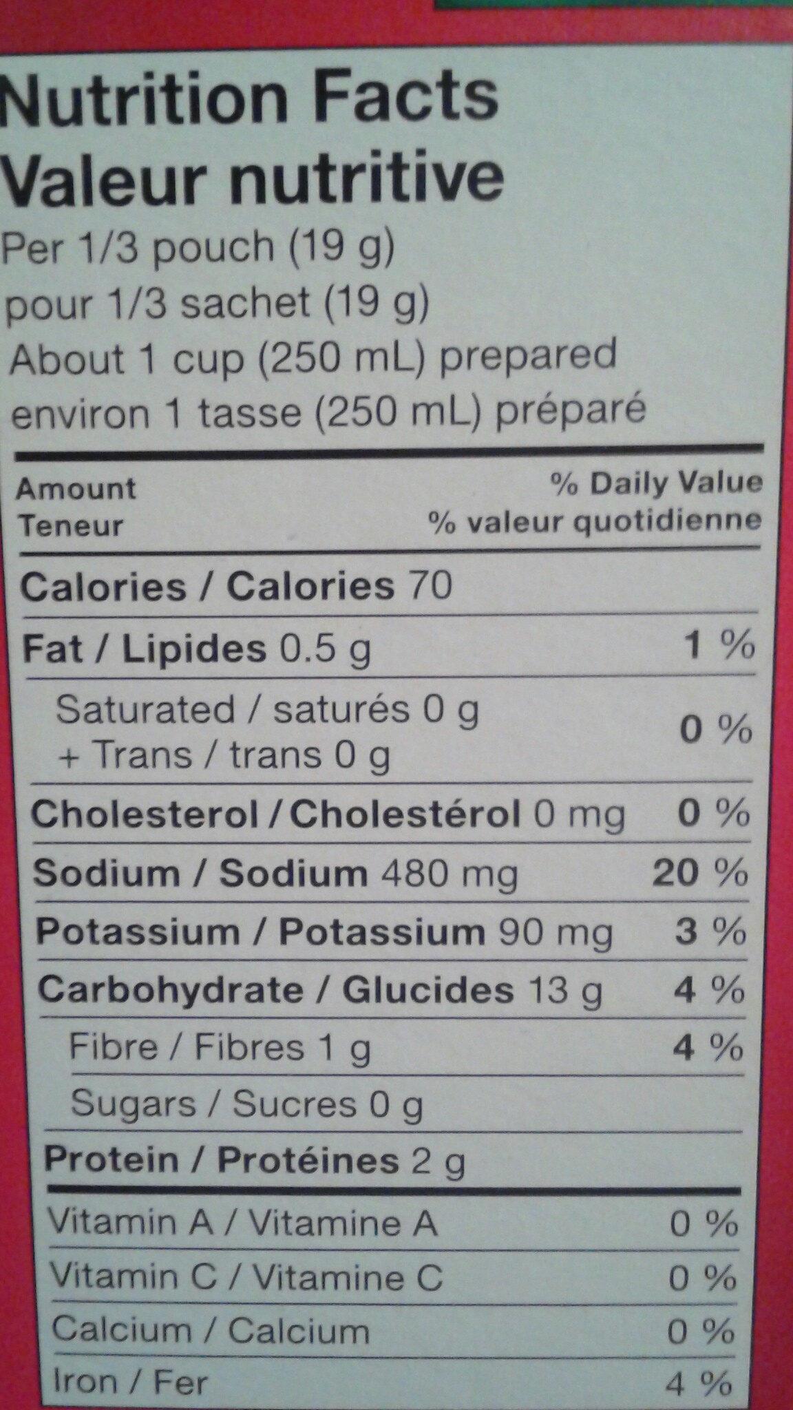 Poulet & Nouilles Légère - Nutrition facts - fr