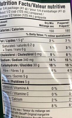 Nouilles au miel et a l'ail - Nutrition facts - fr