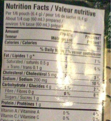 Mélange à Sauce Pour Pates (alfredo) - Informations nutritionnelles - en