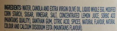 Olive oil mayonnaise type dressing - Ingredients - en