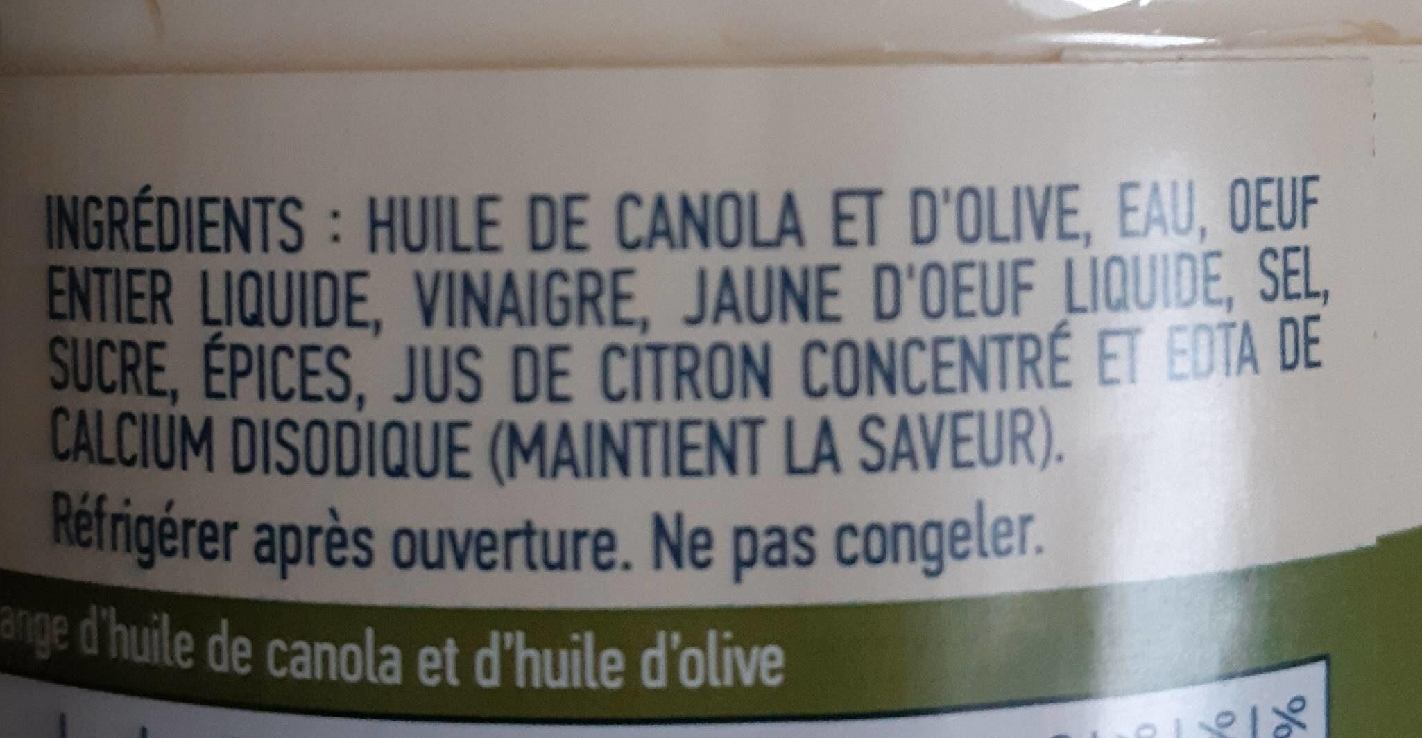 Mayonnaise à l'huile d'olive - Ingrédients - fr