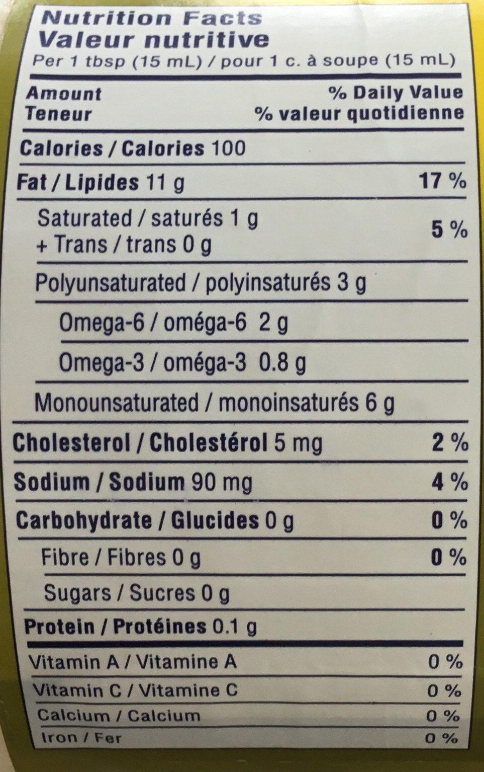 Mayonnaise à l'huile d'olive - Informations nutritionnelles - fr