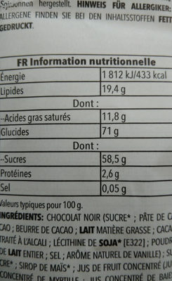 Dark chocolate, acai & blueberry - Informations nutritionnelles - fr