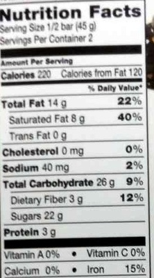 Cranberry Almond Smooth Dark Chocolate - Nutrition facts - en