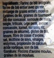 Pain 12 grains moulus (avec lin) - Ingredients - fr