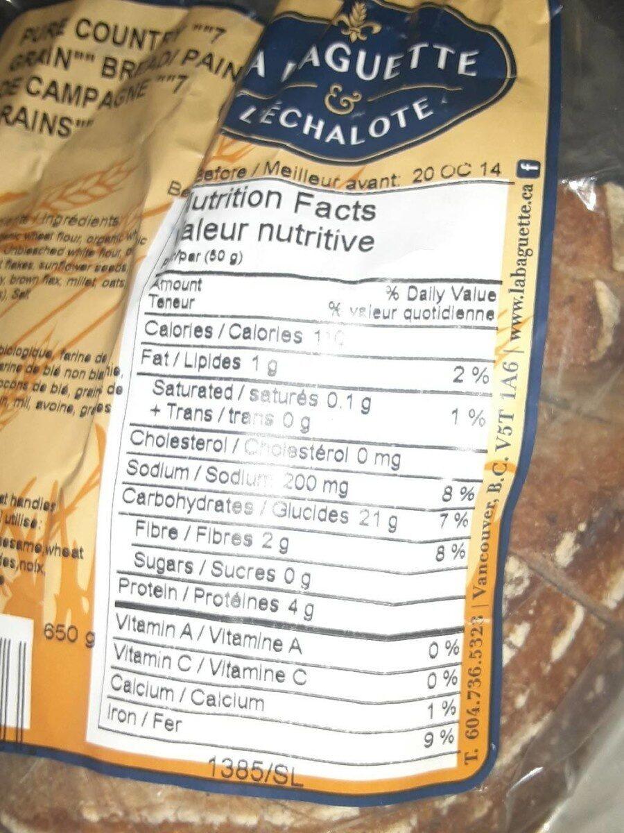 Pain de campagne 7grains - Informations nutritionnelles - fr