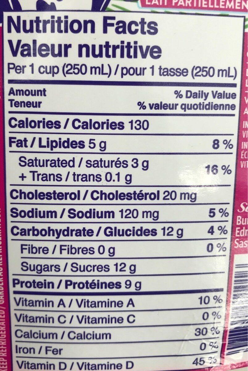 2% PARTLY SKIMMED MILK - Informations nutritionnelles - fr