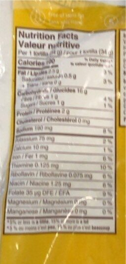 Tortillas - Informations nutritionnelles - en