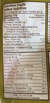 Tortillas grains anciens - Informations nutritionnelles - en