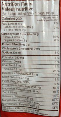 Dempster's 12 Grain Bagels - Valori nutrizionali - en