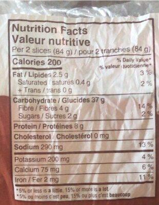 Texas Toast 100% Whole Wheat - Nutrition facts - en