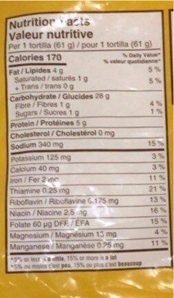 Original Tortillas - Informations nutritionnelles - en