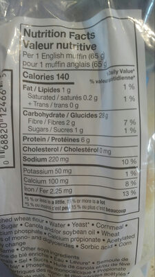 English muffins - Nutrition facts - en