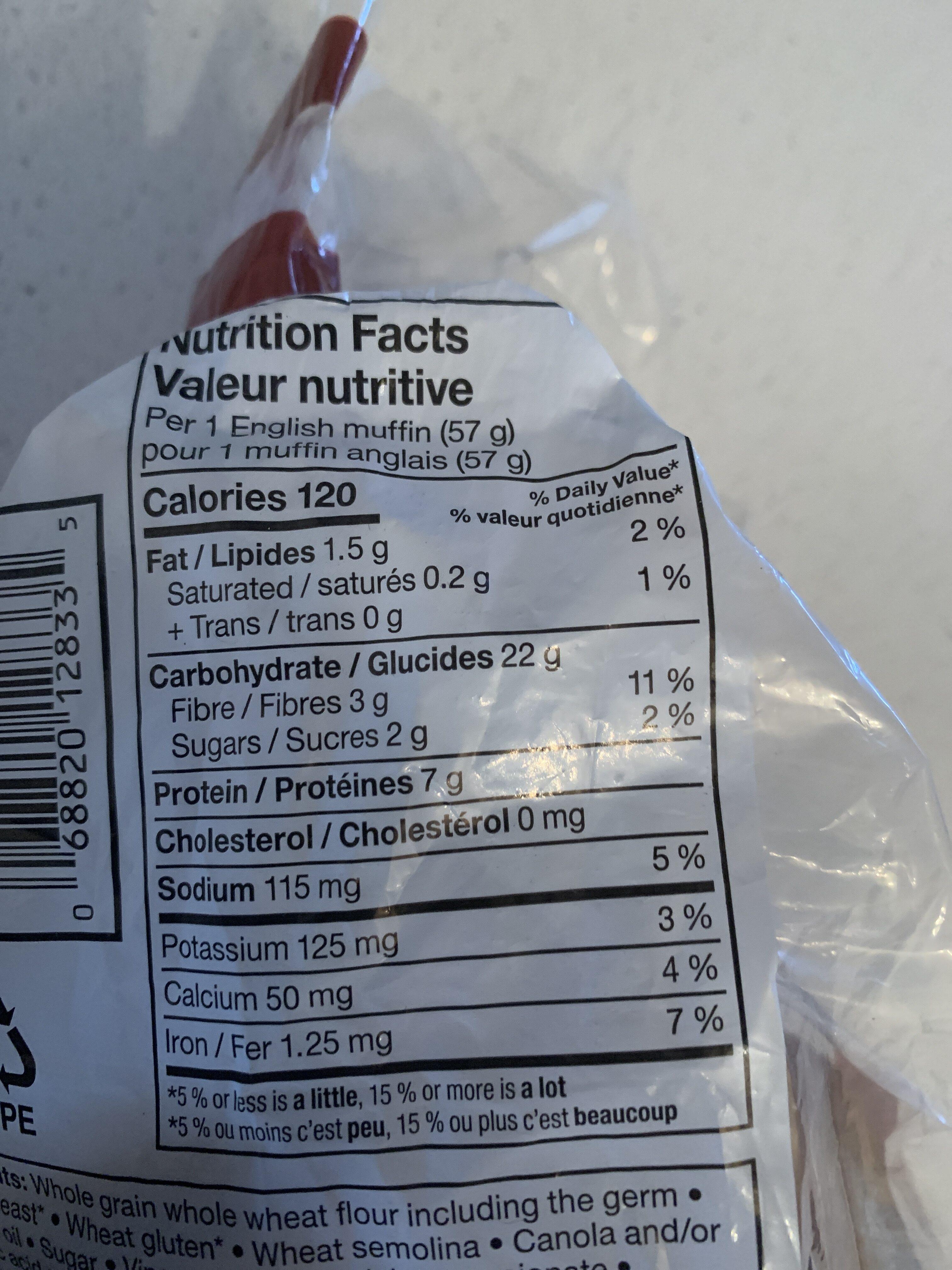 Muffin anglais blé entier a 100% - Informations nutritionnelles - fr