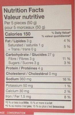 Biuchees de naan - Informations nutritionnelles - fr