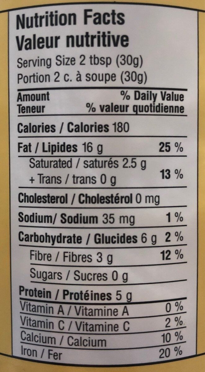 Tahini Biologique - Nutrition facts - fr