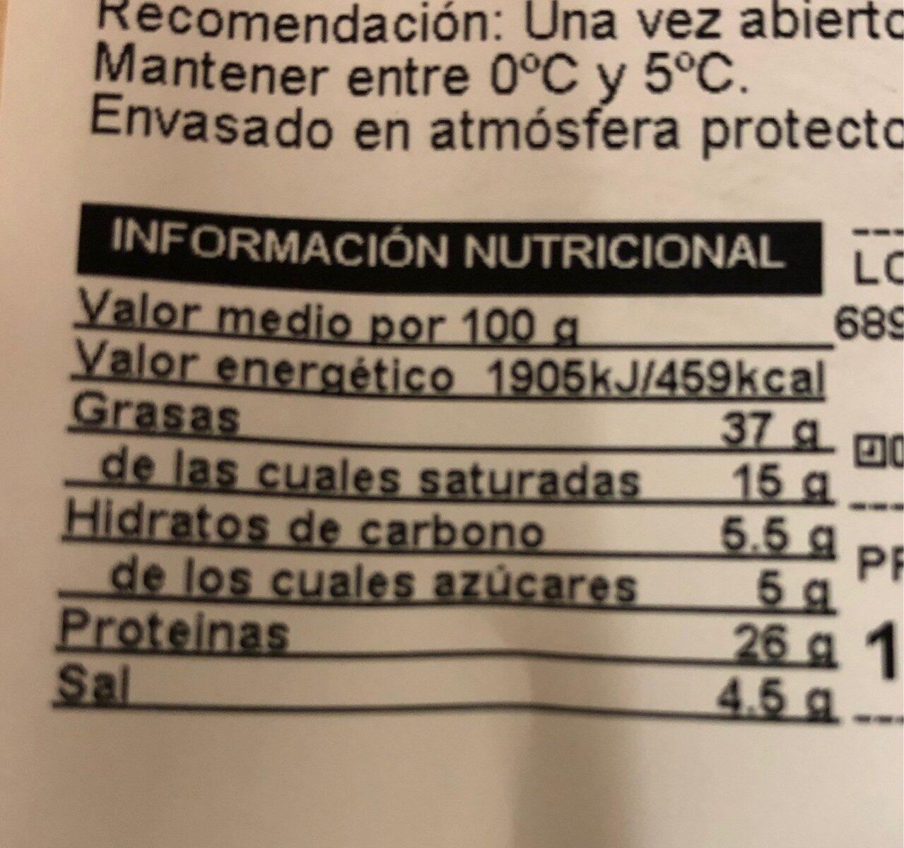 Fuet extra - Información nutricional - es
