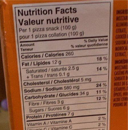 Pizza pops - Nutrition facts - en