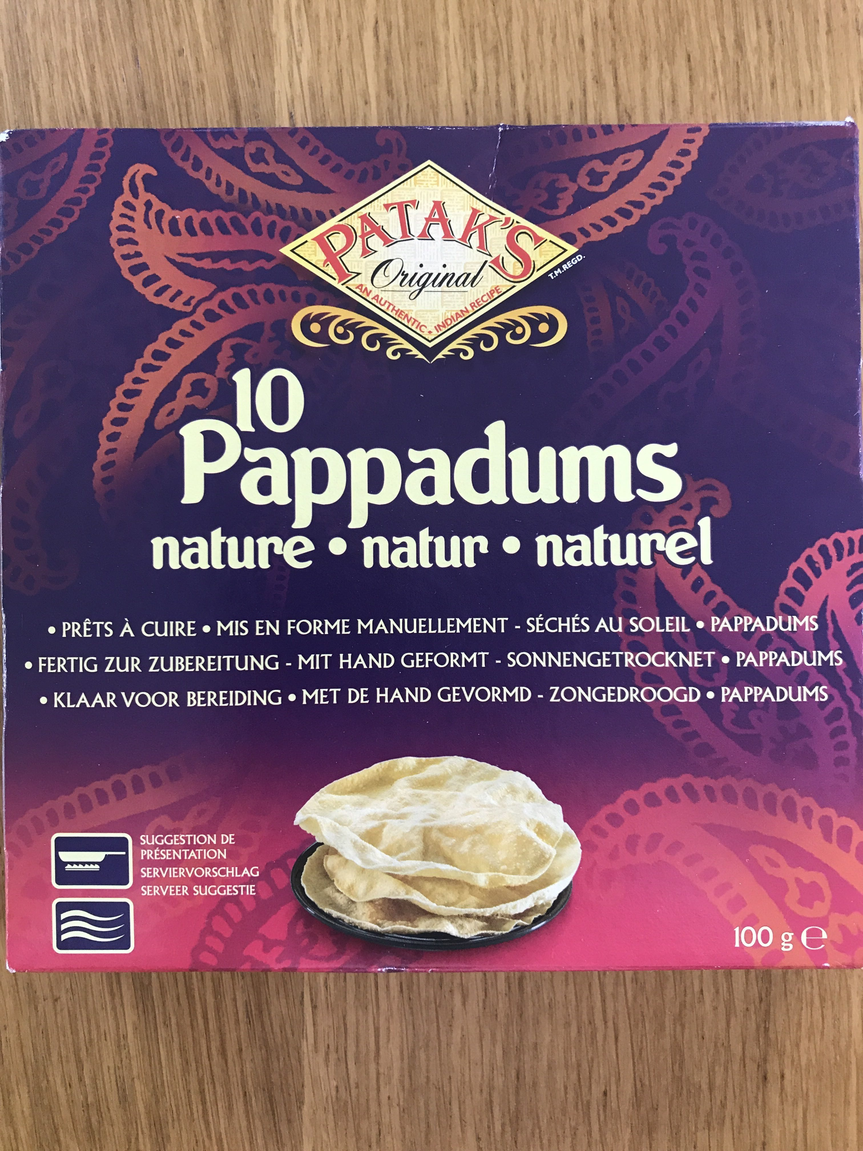 10 Pappadums Nature Pataks 100G 0 - Produit - fr