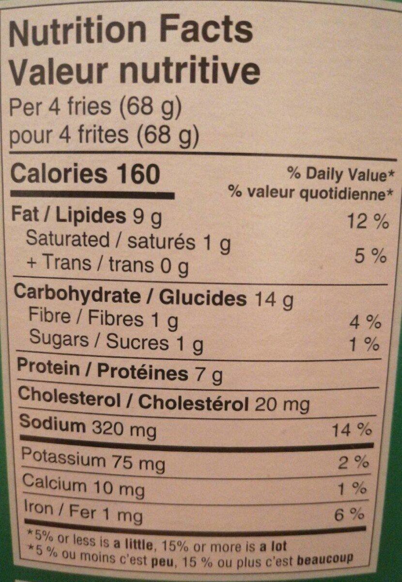 Frites de poulets - Informations nutritionnelles - fr