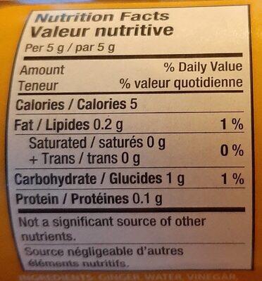 Gingembre haché - Nutrition facts - fr